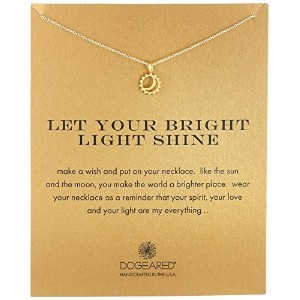 Dogeared quot Reminderquot Let Your Bright Light Shine Sun and Moon Gold Pendant Necklace 16.25quot