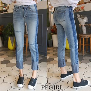 送料 0円★PPGIRL_9412 Block washing jeans/denim pants/roll up denim pants/ユニーク/デーリー/ストレート パンツ