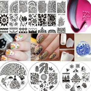 4Pcs Born Pretty Nail Art Stamping Template Image Plate+2pcs/set Stamper &amp Scraper+1Pc Plate...