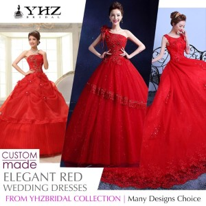 Royal Red Bridal Gown Plus Size Beaded Lace Court Train Ball Gown Wedding Dresses Sleeves Gowns