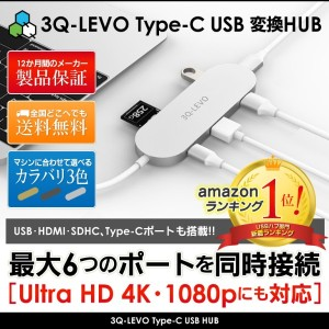 【Amazon1位】3Q-LEVO Type-C USBハブ 【HDMI USB3.0 SDHC 4K Macbook Chromebook 変換ハブ T100HA ThinkPad13 ASUS...