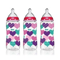 NUK 62736 Hearts Butterlfy Or Elephants Baby Bottle with Perfect Fit Nipple  10 Ounces  3 Pack  Asso