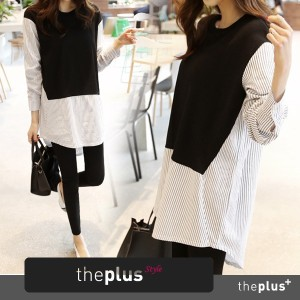 ★theplus★ SuperSale!! ★ High Quality ★Stripe color shirt / Korean fashion / Basic Style