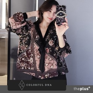 ★ colorful dna ★ Neck Ribbon Chiffon Blouse / Puff sleeve / Korean Fashion / Super Sale / Plus style