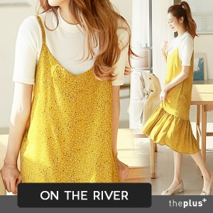 ★ ontheriver ★ Bustier Layered Style Dress / Flare Detail / Long / Midi / Korean Fashion
