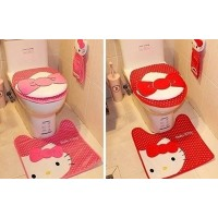 Clearance hello kitty cute cartoon plush condom toilet toilet mat three-piece set with floor mats_Lo