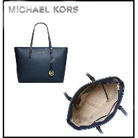 MICHAEL KORS★JET SET MEDIUM TRAVEL TOP ZIP TOTE NAVY 【ご予約商品】 10日前後でのお届け予定です。