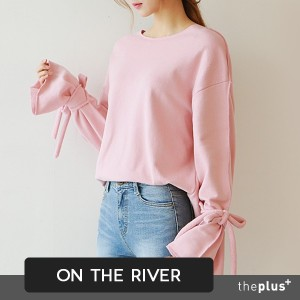 ★ontheriver★ HIT ITEM ★ Unique Design Sweat shirts / Wide Sleeve / Ribbon Detail Sleeve / Soft...