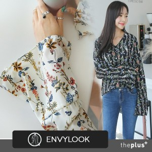 ★ Envylook ★ Flare Slit sleeve / Flower Pattern Blouse / High Quality / Super Sale / Korean Fashion