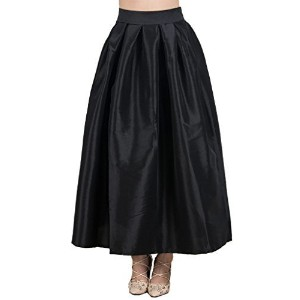 Joeoy Women s Plain High Waist Flare Pleated A-line Maxi Skirt