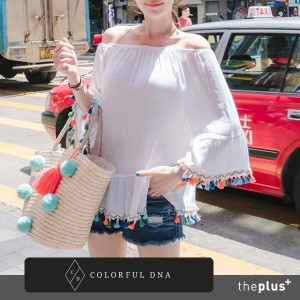 ★COLORFUL DNA★ tassel off blouse /DESIGN BY KOREA /Korea famous fashion blogger Recommended...