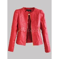 Red Patent PU Leather Short Jacket for Women