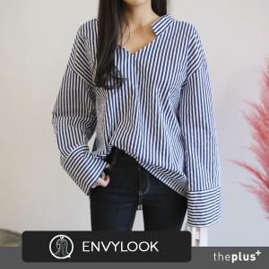 ★ envylook ★ Super Sale / Double V-neck Blouse / Hgh Quality / Unique kneck / Wide sleeve / Korean