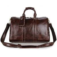 (SUNVP) SUNVP Mens Genuine Leather Duffle Bag Brown Business Overnight Tote Crossbody Bag