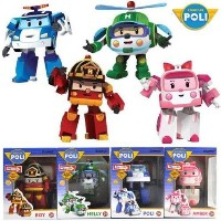 4 Pcs Robocar Poli Transformation Robot Car Kids Educational 4 years old or older New