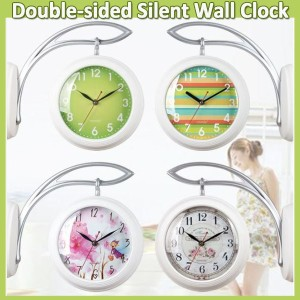 [Time deign]Double-sided Wall Clock/Hang-on-the-wall Silent Clock/Natural Vintage Modern/Living...