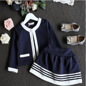Autumn kids Clothes Girls Clothing Set Navy Blue Short Jacket and Skirts Suits Children Formal...