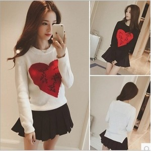 Korean Style Women Heart Print Sweater Long Sleeve Knitted Pollovers(JUST HAVE WITHE)