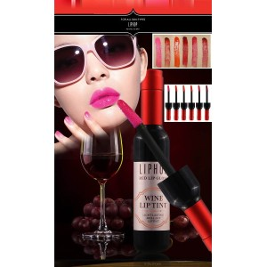 1 Box 6 Colors LIPHOP Long Lasting Lip TINT Wine Shape Lip Gloss Bright Full Color as Korea Drama...