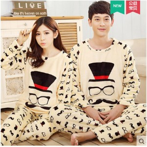 Couple pajamas female long-sleeved thick coral velvet Dongkuan cute cartoon flannel tracksuit suit...