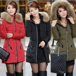 Red Black Army Green Women Winter Coat New Jacket Thicken Slim Fur Collar Long Parka Outwear