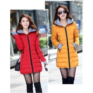 Elegant Ladies Down Jacket Hooded Winter Big Fur Collar Warm Long Coat Hot
