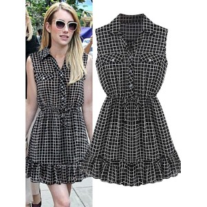 Plaid Style Polo Neck Sleeveless Chiffon Dress