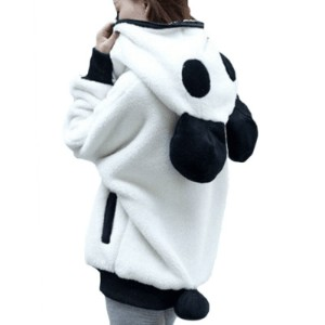 Winter Korean Winter Lovely Zipper Panda Plush Batwing sleeve Female students Outwear Hoodies Plus s