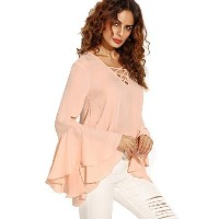SheIn Women s Crisscross V Neck Bell Sleeve Split Back Blouse