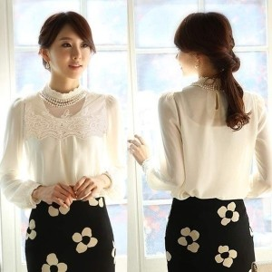Fashion Women s Vintage Long Sleeve Stand Collar Tops Lace Shirt Chiffon Blouse (Size: M、 Color:...