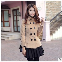 Korean version of the new women s double - breasted winter 2016 Slim woolen jacket collar Collar...