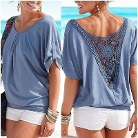 Plus Size Women Lace Patchwork Open Back T Shirt Top