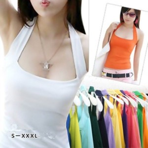 Sexy Fashion Women s Halter Neck Low Cut Tight Vest Shirt Tank Tee Cami Backless Top