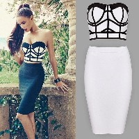 Sexy Women Bandage Bodycon Dress Evening Party Cocktail Prom Two piece Dress