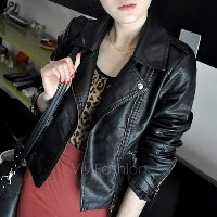 New Winter Women Motorcycle Leather Coat Jacket S-XXL size Diagonal Zipper Short Outerwear Coats VVF