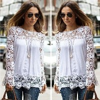 Autumn fashion new Korean Lace Crochet Tee Chiffon Shirt Blouse