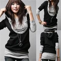 Hot Korea Womens Long Sleeve Cotton Tops Dress Hoodie Coat Fashion Sewatershirt(Black Size XS-3XL)