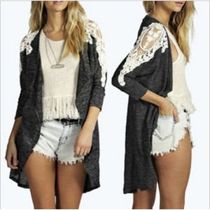 HOT Women s Autumn Cardigan 2015 New Fashion Lace Long Sleeve Cardigan Sweater Female Outwear
