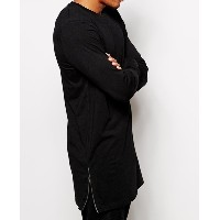 Black Mens Hip hop Long Sleeve t shirts Street wear Fashion side zipper sweatshirt shirts