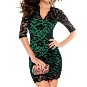 Fashion Vintage Ladies Lace Sexy V-Neck Slim Middle Sleeve Dress Stretch party evening elegant XYZ
