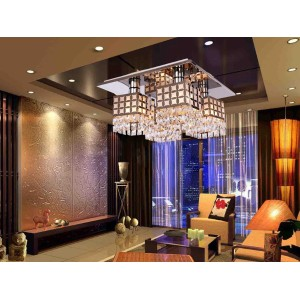 Stainless Steel Crystal Ceiling Lighting Lamp Gein Pattern with 4 Lights 110-120V