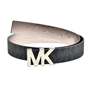 Michael Kors Womens Signature Belt Black with Silver MK Buckle (Small)