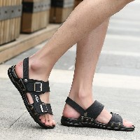 MICLE FASHION mens leather sandals FASHION style shoes to wear rubber soles and comfortable foot...