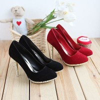 Charming High Heels Pumps Shoes Elegant Black Sexy Womens Faux Suede