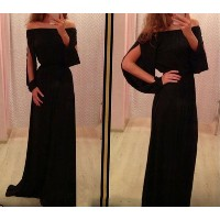 Shoulder Black Maxi Long Dress 2015 New Women slash neck Long Sleeve Party Dresses