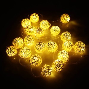LIXADA 2.1M 20 LED Garland Rattan Vine Ball Globe Lamp Fairy String Lights for Party Wedding...