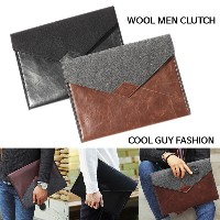 [BRAND NEW] Korea Stylish WOOL MEN Clutch Pouch Bag Black Brown Woolen Fabric Blend Faux Leather...