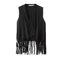 Leisure Style Vivid Tassel Black Vest Jacket