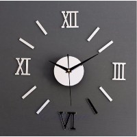 Free Shipping 1 set Modern DIY Interior Roman Wall Clock Wall Clock 3D Sticker Home Mirror Effect