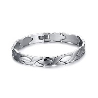 High Polished Stainless Steel Link Bracelet for Men and Women Silver 8.3 White